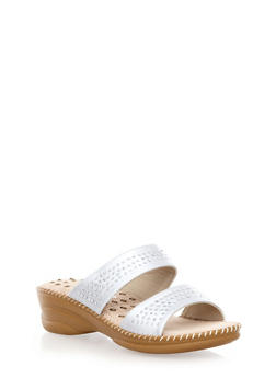 Comfort Dual Strap Wedges with Faux Jewel Accents - 1117072732113