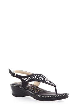 Comfort Studded Thong Wedge Sandals - 1117072736514