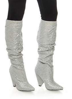 Rhinestone Studded Glitter Cone Heel Boots - SILVER - 1118014064664