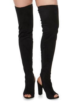 Peep Toe Thigh High Block Heel Boots - BLACK F/S - 1118014065464