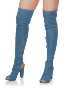 Peep Toe Thigh High Block Heel Boots - 1118014065464