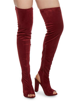 Peep Toe Thigh High Block Heel Boots - BURGUNDY - 1118014065464