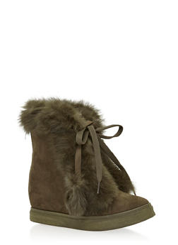 Faux Fur Trim Wedge Booties - 1118061717546
