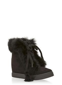 Faux Fur Trim Wedge Booties - 1118061717546
