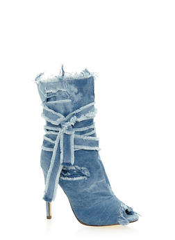 Destroyed Denim High Heel Peep Toe Bootie - 1118065462273