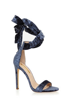 Crushed Velvet Lace Up Ankle Strap High Heel Sandals - 1118065466454