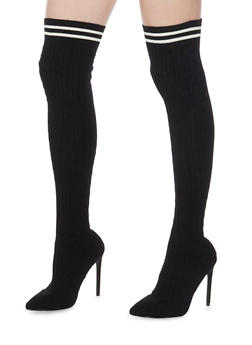 Knit Knee High Boots - BLACK - 1118065469292