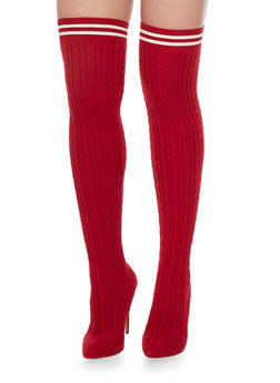 Knit Knee High Boots - RED - 1118065469292