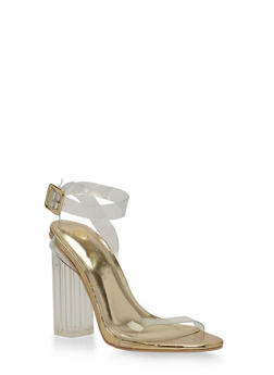 Clear Strap Chunky High Heel Sandals - 1118068262527