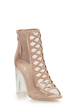Clear Chunky Heel Peep Toe Booties with Caged Details - 1118068265854