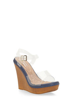 Clear Strap Wedge Sandals with Cushion Soles - 1118068266278