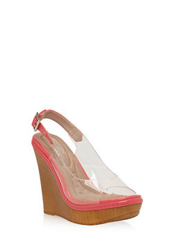 Clear Slingback Wedges - 1118068266280