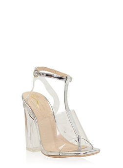 Clear T Strap Chunky High Heel Sandal - SILVER - 1118068268426