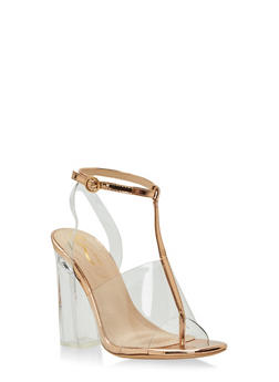 Clear T Strap Chunky High Heel Sandal - GOLD - 1118068268426