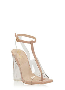 Clear T Strap Chunky High Heel Sandal - NUDE - 1118068268426