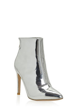 Metallic Pointed Toe High Heel Booties - 1118070962255