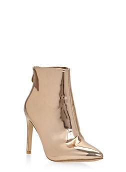 Metallic Pointed Toe High Heel Booties - 1118070962255