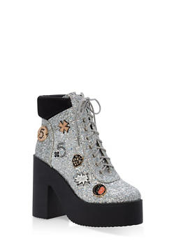 Lace Up Glitter Platform Booties - 1118070962262