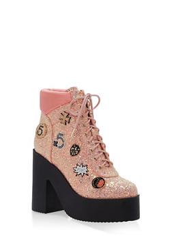 Lace Up Glitter Platform Booties - 1118070962262