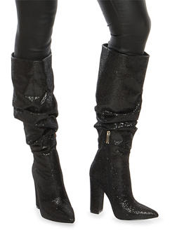 Ruched Glitter High Heel Boots - BLACK - 1118070962328