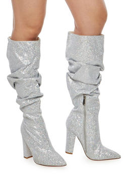 Ruched Glitter High Heel Boots - 1118070962328