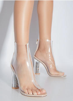 Clear Open Toe High Heeled Booties - 1118070964722