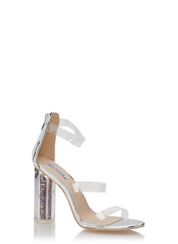 Glitter Perspex High Heeled Sandals - SILVER - 1118070966274