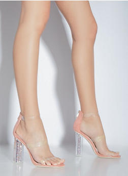 Glitter Perspex High Heeled Sandals - 1118070966274