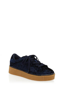 Crushed Velvet Creeper Sneakers - NAVY - 1118070967656