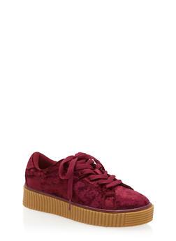 Crushed Velvet Creeper Sneakers - WINE - 1118070967656