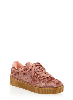 Crushed Velvet Creeper Sneakers - ROSE PINK - 1118070967656