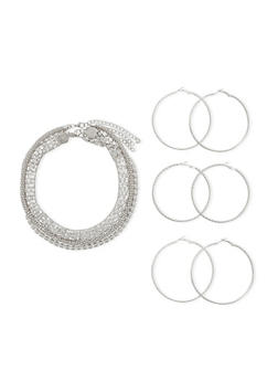 Set of 6 Hoop Earrings and Assorted Necklaces - 1122003201031