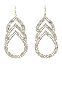 Rhinestone Teardrop Chandelier Earrings - 1122018431257