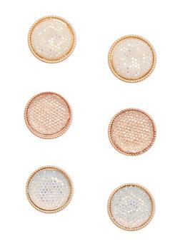 Trio of Large Circle Stud Earrings - 1122035150599