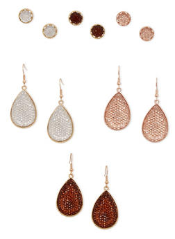 Trio of Drop Earrings with Assorted Studs - 1122035150633