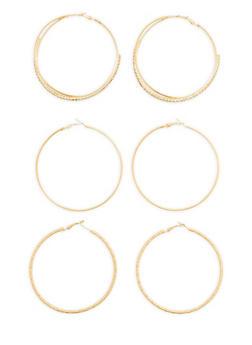 Set of 3 Textured Rhinestone Hoop Earrings - 1122035151945