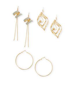 Set of 3 Glitter and Metallic Earrings - 1122035152476
