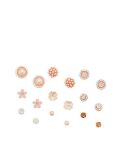 Set of 9 Rhinestone and Faux Pearl Stud Earrings - 1122035152547