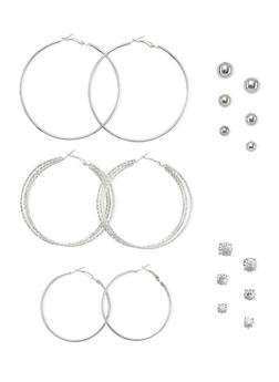 Set of 9 Hoop and Stud Earrings - 1122035153200