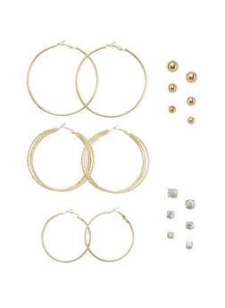 Set of 9 Hoop and Stud Earrings - 1122035153200
