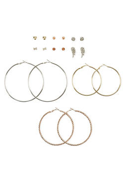 Set of 9 Hoop and Crystal Stud Earrings - 1122035153558