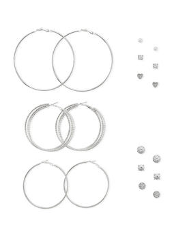 Set of 9 Stud and Hoop Earrings - 1122035154589