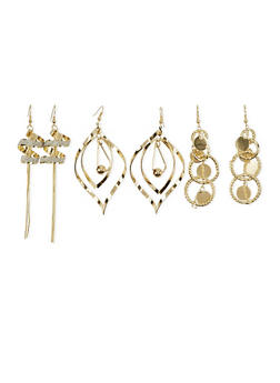 Set of 3 Sculptural Drop Earrings with Glitter Accents - 1122035154969