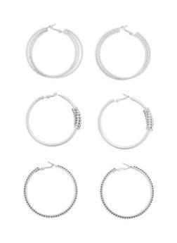 Set of 3 Rhinestone Encrusted Hoop Earrings - 1122035155978