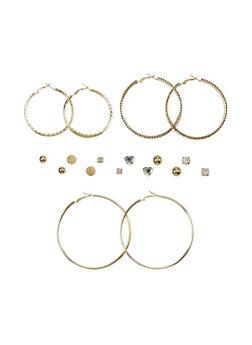 Set of 9 Textured Hoop and Stud Earrings - 1122035155994