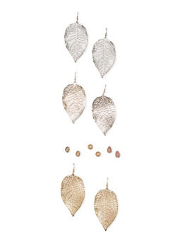 Set of 6 Leaf and Stud Earrings - 1122035156647