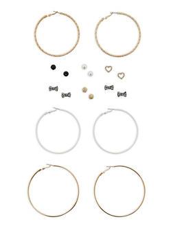 Set of 3 Large Hoop Earrings and 6 Rhinestone Stud Earrings - 1122035157927