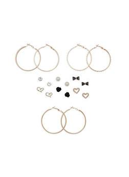 Set of 9 Metallic Textured Hoop and Stud Earrings - 1122035158321