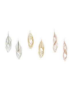 Set of 3 Layered Geo Drop Earrings - 1122035159556