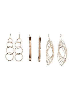 Set of 3 Drop Earrings with Glitter Accents - 1122035159864